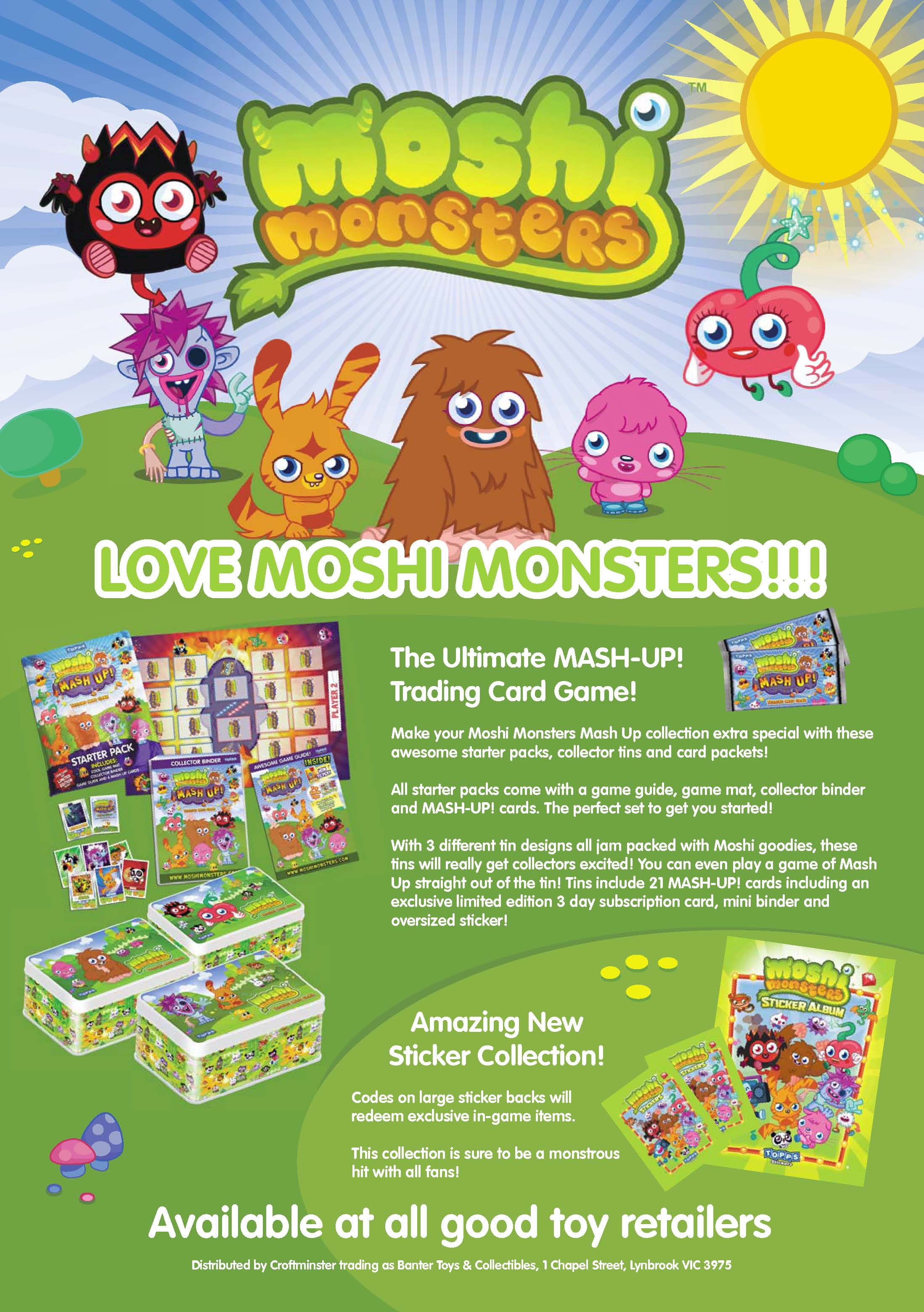 Moshi Monsters TCG in Hedz Up kids magazine – Banter Toys